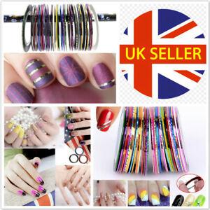 12 Colour Rolls Nail Art Lace Tape Line Strips False Nails Decoration Sticker UK