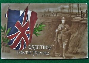 WW1 Military Postcard Greetings From The Trenches 1916 Army Field Post PB Censor