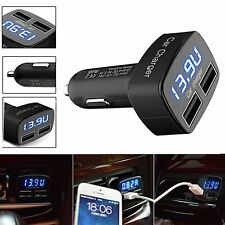 DC 5V 3.1A 4 In 1 Dual USB Car Charger Adapter Voltage Tester for iPhone GPS