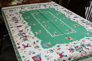 Fab Vintage Cotton Kitchen Tablecloth 48x64 Folks and Flowers
