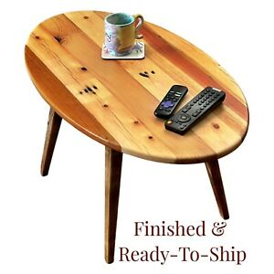 Small Mid-Century Oval Coffee Table Made of Reclaimed Wood with Splayed Legs