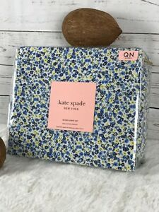 kate spade NEW YORK 100% Cotton Percale Blue Ditsy Floral QUEEN Sheet Set NEW