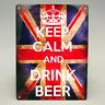 KEEP CALM AND DRINK BEER METAL SIGN Retro Vintage British Flag Man cave Pub Bar