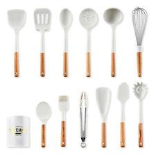 12pcs Milky White Wood Handle Silicone Kitchenware Set Non Stick Pot Shovel