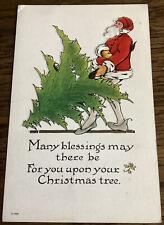 Vintage Christmas Postcard Odd Long Legged Santa Claus With Tree Embossed