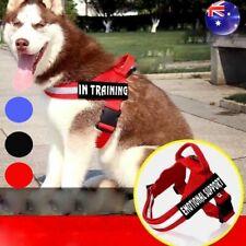 Nylon Pet Reflective Service Dogs Harness Handle Training Vest 2Pcs Patches AU #