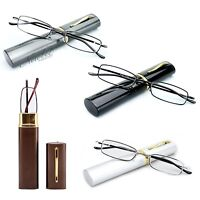 4 Pack Combo Slim Reading Glasses in Compact Aluminium Hard Case Various Combos!