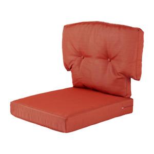 Martha Stewart Red Solid Outdoor Chair Cushion Pad Zipper Closure Polyester 100%