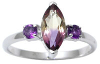 925 Sterling Silver Fashion Ametrine And Amethyst Stone Ring Women Jewelry
