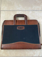DayTimers Vintage Cowhide Brown Leather Satchel Bag Documents Organizer Folder