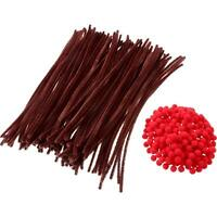 100 Brown Pipe Cleaners Chenille Craft 30cm x 6mm And 100 Red Pom Poms 10mm