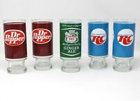 Vintage Soda Advertising Pedestal GLASSES 5 RC Dr Pepper Canada Dry Ginger Ale