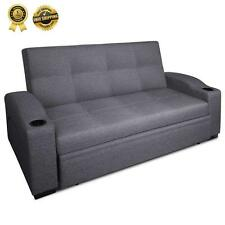 3 Seater Foldable Pull Out SOFA Bed Lounge Couch Chaise Cup Holder Linen Fabric