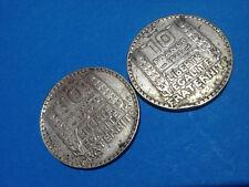 Lot de 2X 10 FRANCS TURIN 1929 en Argent / French Coins