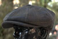 Men's Wool Newsboy Cap, Driving Cabbie Applejack Plaid Tweed Golf Hat Ns2157Oliv