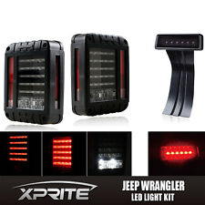 Clear LED Rear G2 Taillight 3rd Third Brake Light Combo For 07-17 Jeep Wrangler