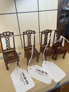 4 Dollhouse Mahogany Asian Inlaid Chairs - New- Lovely. Free Shipping.