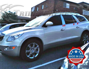 2007-2017 Buick Enclave 8Pc Chrome Pillar Post Trim Stainless Steel Door Cover