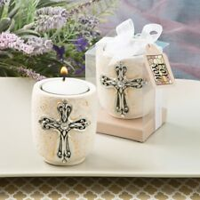 25 Cross Tea Light Candle Holder Christening Baptism Religious Party Favors