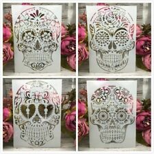 4Pcs/Lot A4 Skull Skeleton Ghost DIY Layering Stencils Painting Scrapbooking New