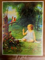 1929 Original BUXTON Vintage Print LITTLE GIRL & BIRDS SPRING SONG REHEARSAL