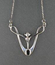 925 Plata Collar de estilo Art Nouveau con ónix NUEVO 9901055