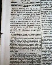 Rare COPPERHEAD Pro Confederate Columbus Ohio Civil War CLOSE 1861 Old Newspaper