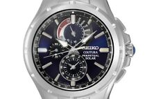 PRE-OWNED $475 Seiko Mens Coutura Solar Perpetual Chrono Japanese Watch SSC375