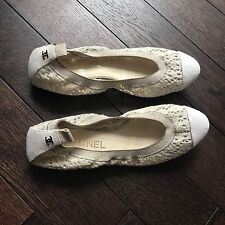 Chanel Flat Ballerina Crochet Shoes 37.5 Beige Cream White