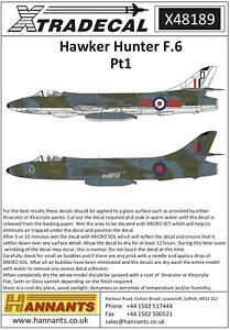 X48189 - NEW Xtradecal 1:48 Hawker Hunter F Mk.6 Collection
