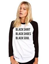 Camisa Negra Negro Zapatos Negro Soul-Goth Mujer Béisbol Top