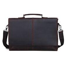 "Vintage Leather Briefcases Yuppie Style Office Bag Messenger 13"" laptop Bags Men"
