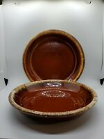 "2 Hull Pottery Brown Drip Pie Baking Plate 9.5"" Set of 2 Vintage"