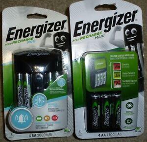 2x ENERGIZER AA AAA BATTERY CHARGERS RECHARGE PRO + 4AA 2000 / MAXI + 4AA 1300