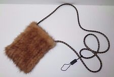 Beautiful MINK FUR BAG/POUCH with Leather Crossbody Strap/Phone, Card Purse etc.