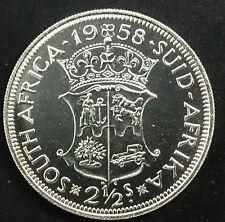 South Africa 1958 Scarce Date Half Crown Silver Elizabeth II Proof KM#51