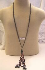 "Signed Chico's 30"" Brass 2 Strand Chain Necklace Jewelry w 6"" Long Glass Tassel"