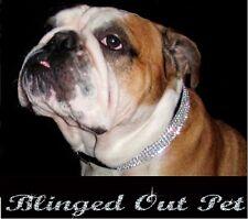 """Black With Clear Crystal Rhinestone Dog Collar & Leash fits 16-20"""" necks"""