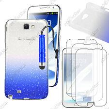 Housse Etui Coque Gouttes Bleu Samsung Galaxy Note 2 + Mini Stylet + 3 Films