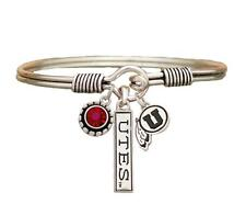 Utah Utes 3 Charm Red Crystal Silver Wire Bracelet Jewelry Licensed NCAA UU