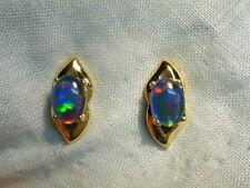 Opal Earrings 14ct Yellow Gold . Triplet Opals 7x5 mm Oval. item 70017.