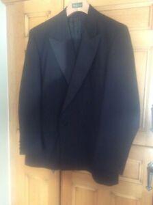 Men's 44R Black Wool Double Breasted DJ Evening Dinner Jacket Tuxedo by Mr Harry