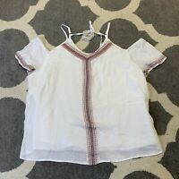 Cato Cold Shoulder Embroidered Top Womens 18/20 Geometric Aztec Boho White