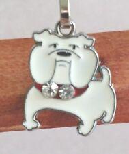 White Bulldog Dog Pup Bag Purse Charm Dangle Zipper Pull Jewelry