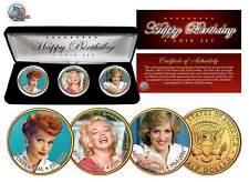 Birthday MARILYN MONROE Lucille Ball PRINCESS DIANA JFK Half Dollars 3-Coin Set