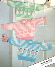 "Motif  Baby Sweaters Teddy Bunny Rabbit Heart 16 - 20"" ~  Knitting Pattern"
