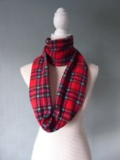 Red tartan infinity scarf, red checked loop scarf, Royal Stewart Tartan fleece