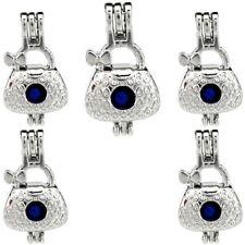 Sliver HandBag Stone Cage Locket Charms Pendant  -5X-K778