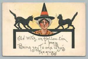 """""""Old Witch"""" Black Cats HALLOWEEN Antique Embossed L&E 2231 Postcard 1909"""