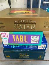 Spiele Trivial Pursuit, Therapy, Siedler von Catan, Tabu